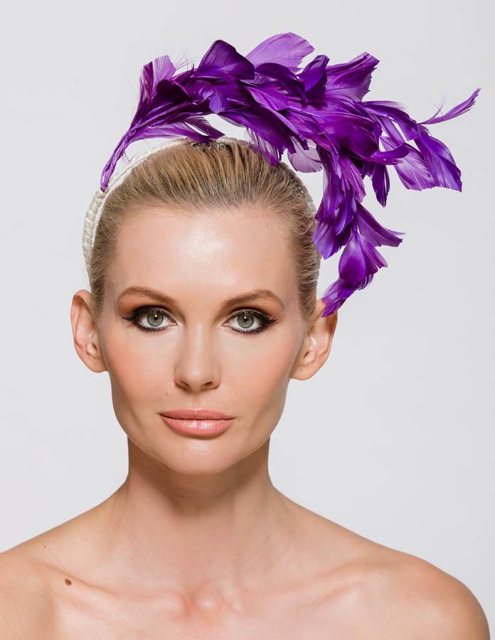 Purple feathers headband